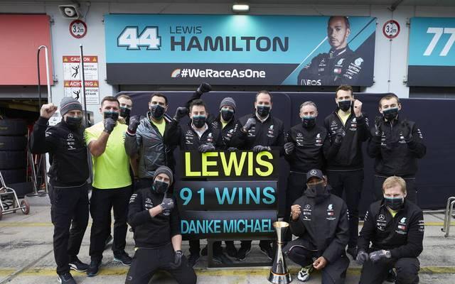 Lewis Hamilton egalisierte 2020 Schumachers Rekord von  91 Rennsiegen in der Formel 1