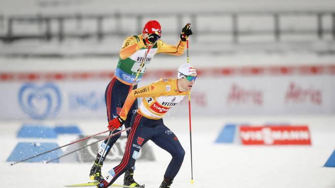 Vinzenz Geiger und Fabian Rießle mussten sich dem norwegischen Duo geschlagen geben
