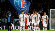 Paris Saint-Germain's Argentine forward Mauro Icardi (1st-L) celebrates after scoring a goal during the UEFA Champions League Group A football match between Paris Saint-Germain (PSG) and Club Brugge at the Parc des Princes stadium in Paris on November 6, 2019. (Photo by Thomas SAMSON / AFP) (Photo by THOMAS SAMSON/AFP via Getty Images)