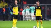 DORTMUND, GERMANY - NOVEMBER 05: Mario Gotze and Julian Brandt of Borussia Dortmund look dejected during the UEFA Champions League group F match between Borussia Dortmund and Inter at Signal Iduna Park on November 05, 2019 in Dortmund, Germany. (Photo by Jörg Schüler/Getty Images)