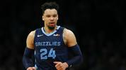 BOSTON, MASSACHUSETTS - JANUARY 22: Dillon Brooks #24 of the Memphis Grizzlies celebrates during the game against the Boston Celtics  at TD Garden on January 22, 2020 in Boston, Massachusetts. (Photo by Maddie Meyer/Getty Images)