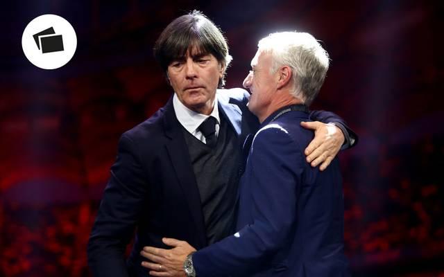 Bundestrainer Joachim Löw (l.) erwartet mit seinem Team eine schwierige EM-Vorrunde