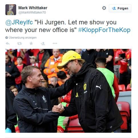 """Brendan Rodgers hat bei den Fans des FC Liverpool einen schweren Stand. Die Anhänger der """"Reds"""" wünschen sich Jürgen Klopp als Nachfolger und machen sich unter #KloppForTheKop für den Coach stark. SPORT1 zeigt die besten Tweets"""