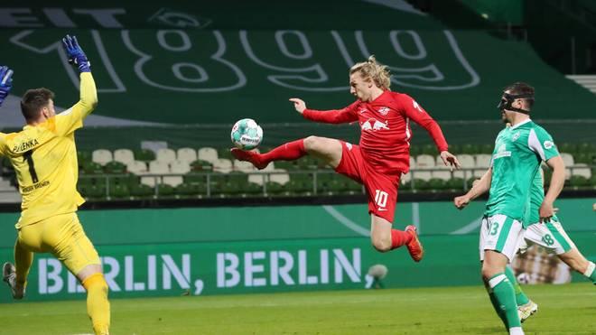 Emil Forsberg erzielt in der 121. Spielminute den Siegtreffer für Leipzig
