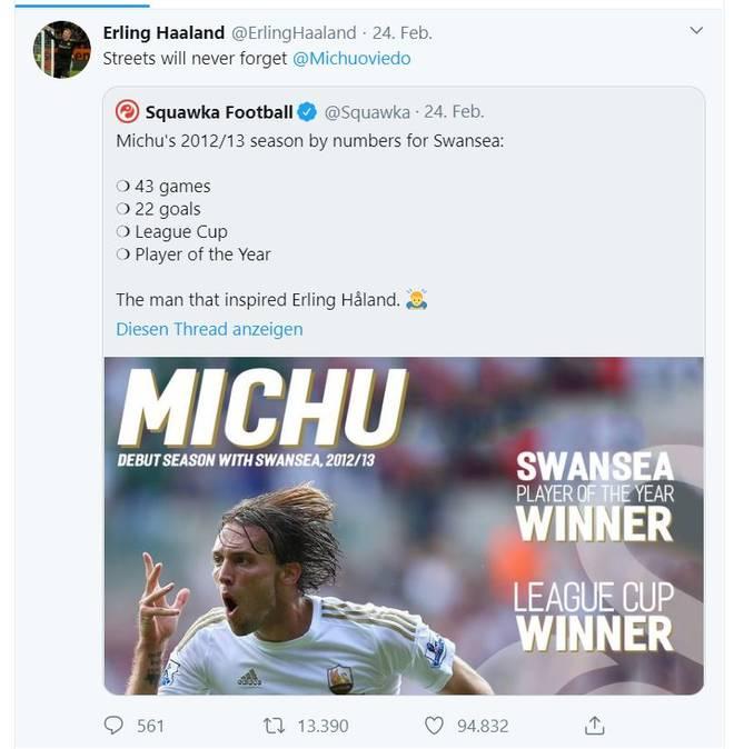 Erling Haaland schrieb Michu bei Twitter an