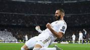 MADRID, SPAIN - NOVEMBER 26: Karim Benzema of Real Madrid CF celebrates after scoring his team's second goal during the UEFA Champions League group A match between Real Madrid and Paris Saint-Germain at Bernabeu on November 26, 2019 in Madrid, Spain. (Photo by David Ramos/Getty Images)