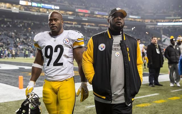 James Harrison (l.) gewann mit den Steelers zwei Super Bowls