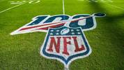 MIAMI, FLORIDA - SEPTEMBER 08: A detailed view of the NFL 100 logo on the field prior to the game between the Miami Dolphins and the Baltimore Ravens at Hard Rock Stadium on September 08, 2019 in Miami, Florida. (Photo by Mark Brown/Getty Images)