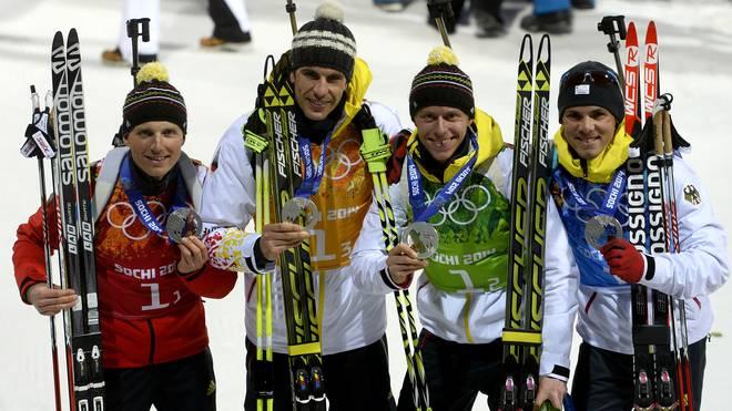 Die deutschen Biathleten holten bei der Olympia-Staffel 2014 Gold
