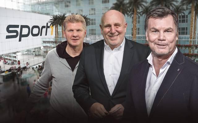 Stefan Effenberg und Dieter Hoeneß sind am Sonntag zu Gast im CHECK24 Doppelpass bei Moderator Thomas Helmer (v.l.)