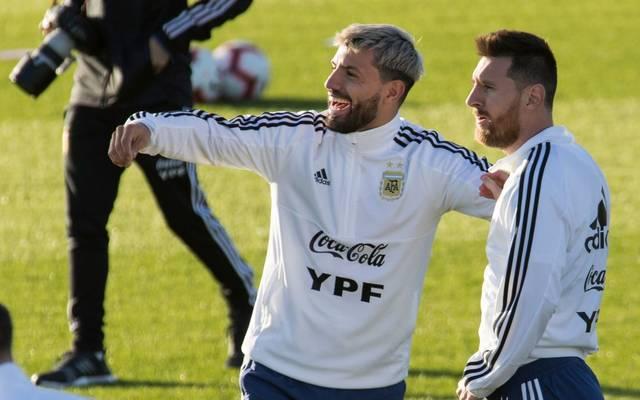 Sergio Agüero (l.) and Lionel Messi sind in der argentinischen Nationalmannschaft feste Größen