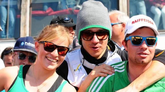 Die Ski-Stars Lara Gut-Behrami - damals nur Gut -, Felix Neureuther und Beat Feuz (v.l.) im Jahr 2012