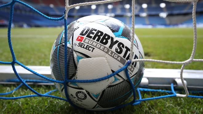 HAMBURG, GERMANY - MAY 24: A detailed view of a match ball in the goal net prior to the Second Bundesliga match between Hamburger SV and DSC Arminia Bielefeld at Volksparkstadion on May 24, 2020 in Hamburg, Germany. (Photo by Christian Charisius/Pool via Getty Images)