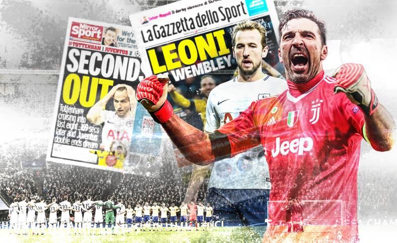 """Juventus Turin steht nach einem Blitz-Comeback gegen Tottenham Hotspur im Viertelfinale der Champions League. Während die Altmeister um Gianluigi Buffon gefeiert werden, hagelt es Kritik an den Engländern. SPORT1 präsentiert die Pressestimmen zum 2:1-Triumph der """"Alten Dame"""""""