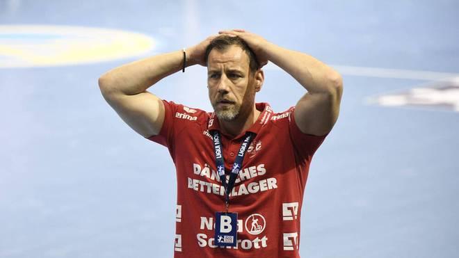 Flensburg-Trainer Machulla muss den Punktverlust seiner Mannschaft hinnehmen