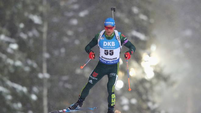 Erik Lesser belegt mit Franziska Preuß Platz zwei in der Single Mixed Staffel in Östersund