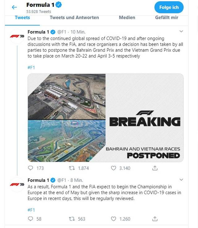 """In Ihrem Tweet schreibt die Formel 1 von einem erwarteten Saisonbeginn """"Ende Mai"""""""