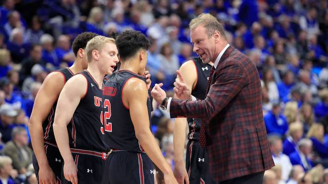LEXINGTON, KY - DECEMBER 15:  Larry Krystkowiak the head coach of the Utah Runnin' Utes gives instructions to his team against the Kentucky Wildcats at Rupp Arena on December 15, 2018 in Lexington, Kentucky.  (Photo by Andy Lyons/Getty Images)