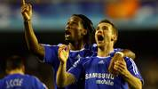 VALENCIA, SPAIN - APRIL 10:  Andriy Shevchenko(R) of Chelsea celebrates scoring Chelsea's first goal of the game with team mate Didier Drogba during the UEFA Champions League Quarter Final Second Leg match between Valencia and Chelsea at the Stadium Mestalla on April 10,2007 in Valencia, Spain.  (Photo by Stu Forster/Getty Images)