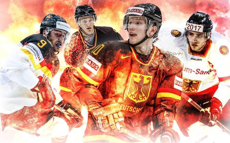 Dank der NHL-Stars Tobias Rieder, Korbinian Holzer, Christian Ehrhoff und Leon Draisaitl (v.l.) geht das deutsche Nationalteam mit großen Hoffnungen in die WM in Russland (6. bis 22. Mai LIVE im TV auf SPORT1). Neu-Bundestrainer Marco Sturm kann auch auf drei Deutsche Meister bauen. SPORT1 stellt den 25 Mann starken Kader vor