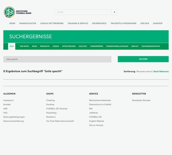 Die leere Ergebnisseite auf dfb.de bei der Suche nach dem Namen Lotte Specht