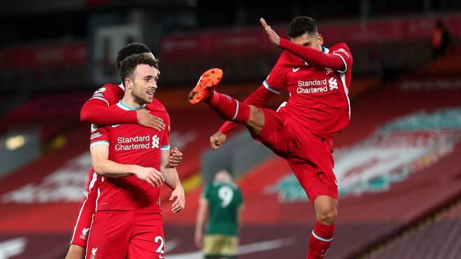 Diogo Jota (li.) und Roberto Firmino (re.) trafen für den FC Liverpool
