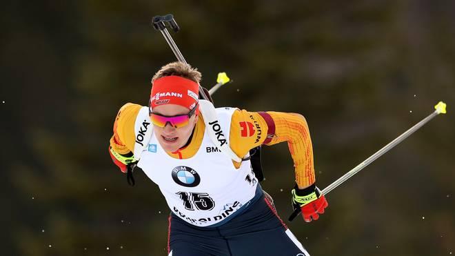 Benedikt Doll hat sich beim Sprint in Ruhpolding Platz drei gesichert
