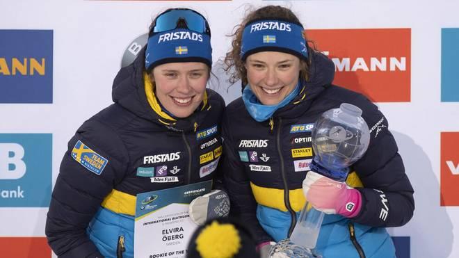 Hanna (r.) und Elvira Öberg gehören beim Damen-Biathlon zu den Spitzenathletinnen
