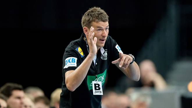 LEIPZIG, GERMANY - APRIL 04: Coach Christian Prokop of Germany reacts during the handball international friendly match between Germany and Serbia at Arena Leipzig on April 4, 2018 in Leipzig, Germany. (Photo by Thomas Eisenhuth/Bongarts/Getty Images)