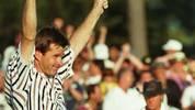 """Bei den US-Masters 1996 verspielte der australische Golfer Greg Norman elf Schläge in einer Runde. Sein Kontrahent Nick Faldo (Foto)  profitierte von den Fehlern des """"weißen Hai"""" und sicherte sich den Sieg im Turnier und eine der ungewöhnlichsten Aufholjagden der Geschichte"""