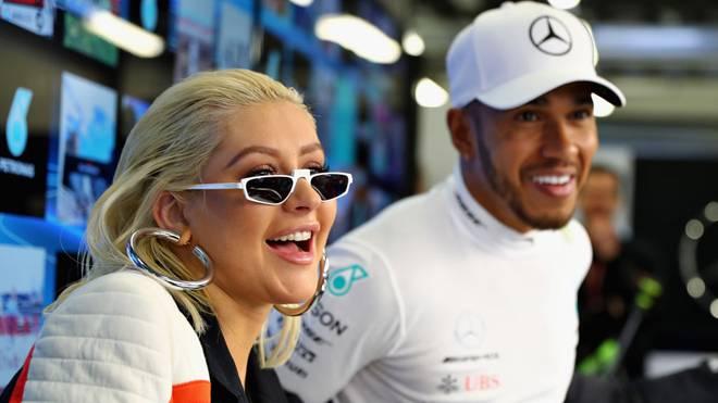 Popstar Christina Aguilera und Lewis Hamilton trafen sich auch 2018 beim Grand Prix von Aserbaidschan