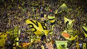 "DORTMUND, GERMANY - AUGUST 26: Yellow Wall ""Gelbe Wand"" with fans of Borussia Dortmund prior to the Bundesliga match between Borussia Dortmund and RB Leipzig at Signal Iduna Park on August 26, 2018 in Dortmund, Germany. (Photo by Maja Hitij/Bongarts/Getty Images)"