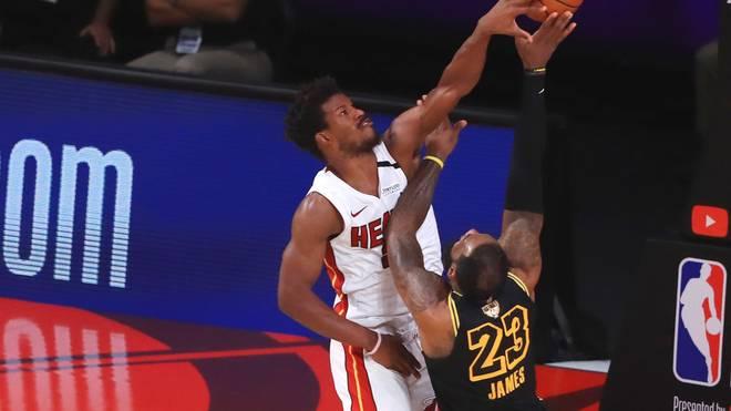LeBron James (r.) von den Los Angeles Lakers und Jimmy Butler Miami Heat prägen die NBA-Finals 2020