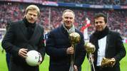 MUNICH, GERMANY - FEBRUARY 26: Oliver Kahn, Karl-Heinz Rummenigge and Lothar Matthaeus (L-R) pose with exhibition items for the new Bayern Muenchen museum prior to the Bundesliga match between FC Bayern Muenchen and FC Schalke 04 at Allianz Arena on February 26, 2012 in Munich, Germany.  (Photo by Alex Grimm/Bongarts/Getty Images)
