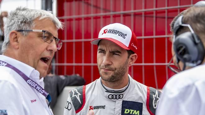 Teamchef Ernst Moser (l.) und Fahrer Mike Rockefeller vom DTM-Team Phoenix Racing
