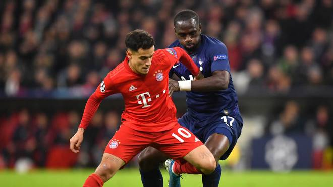 MUNICH, GERMANY - DECEMBER 11: Philippe Coutinho of FC Bayern Munich is challenged by Moussa Sissoko of Tottenham Hotspur during the UEFA Champions League group B match between Bayern Muenchen and Tottenham Hotspur at Allianz Arena on December 11, 2019 in Munich, Germany. (Photo by Sebastian Widmann/Bongarts/Getty Images)