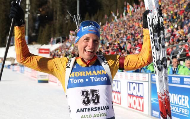 Vanessa Hinz gewann bei der WM in Antholz Silber