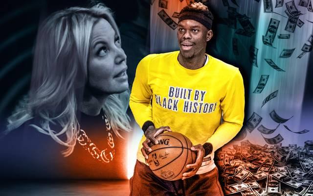 Lakers-Besitzerin Jennie Buss (l.) und Dennis Schröder