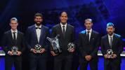 Virgil van Dijk (M.) ist Europas Fußballer des Jahres 2019