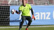 MUNICH, GERMANY - NOVEMBER 11:  Kevin Trapp of the German national team safes the ball during a training session at Bayern Muenchen's trainings ground Saebener Strasse on November 11, 2015 in Munich, Germany.  (Photo by Alexander Hassenstein/Bongarts/Getty Images)