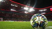 MUNICH, GERMANY - NOVEMBER 06: A detailed view of a match ball on the pitch ahead of the UEFA Champions League group B match between Bayern Muenchen and Olympiacos FC at Allianz Arena on November 06, 2019 in Munich, Germany. (Photo by Alexander Hassenstein/Bongarts/Getty Images)