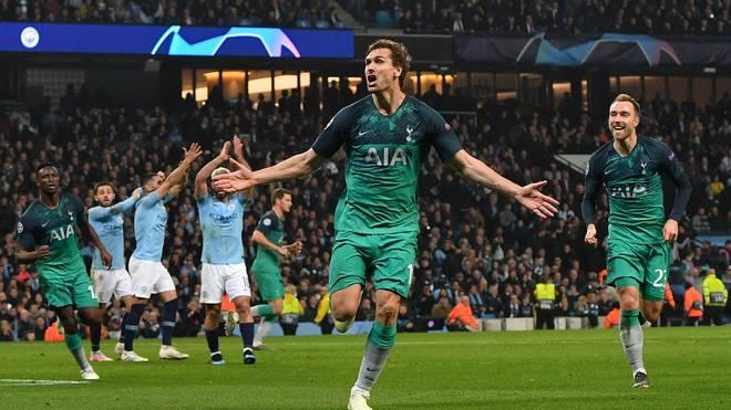 FBL-EUR-C1-MAN CITY-TOTTENHAM Im Champions League-Viertelfinale wirft Fernando Llorente Manchester City mit seinem Treffer aus dem Wettbewerb