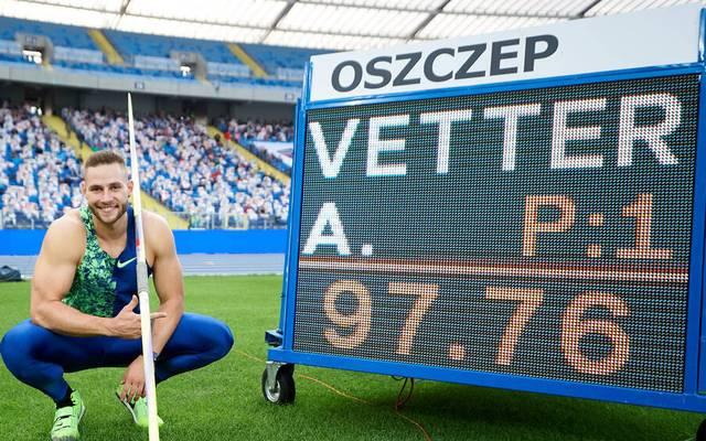 Johannes Vetter nach seinem famosen Wurf in Chorzow