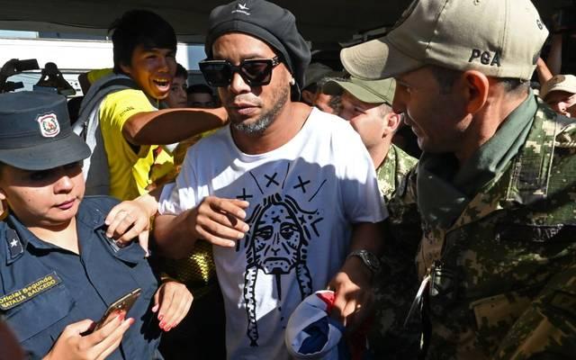 Ronaldinho bei seiner Ankunft an einem Flughafen in Paraguay