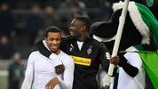 Gute Laune bei Borussia Mönchengladbach (hier Plea und Thuram im Trainingslager