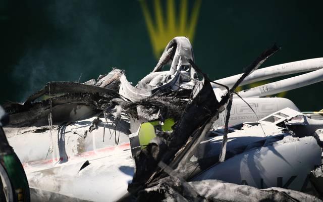 Vom Boliden von Luca Ghiotto war nach dem Crash nicht mehr viel übrig
