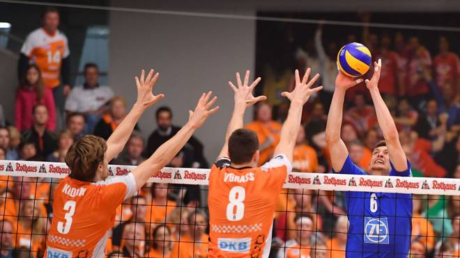 FRIEDRICHSHAFEN, GERMANY - MAY 07: Michal Finger of VFB Friedrichshafen in action during the Volleyball final playoff match 3 between VFB Friedrichshafen and Berlin Recycling Volleys at ZF Arena on May 7, 2017 in Friedrichshafen, Germany. (Photo by Sebastian Widmann/Bongarts/Getty Images)