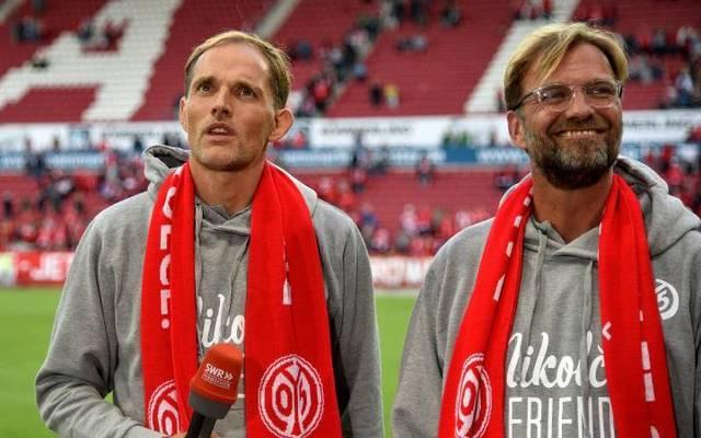 Thomas Tuchel (l.) und Jürgen Klopp beim Abschiedsspiel von Nikolce Noveski in Mainz