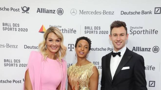 WIESBADEN, GERMANY - FEBRUARY 01:  *L/R( Franziska van Almsick, Malaika Mihambo and Niklas Kaul attend the Ball des Sports 2020 gala at RheinMain CongressCenter on February 01, 2020 in Wiesbaden, Germany. (Photo by Andreas Rentz/Getty Images)