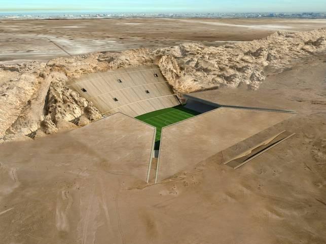 Die Vereinigten Arabischen Emirate sind für ihre gewagte Architektur und extrem ehrgeizigen Megaprojekte bekannt , der Fußball bildet da keine Ausnahme. Die Stadt Al Ain, die zu Abu Dhabi gehört, plant nun ein wohl weltweit einzigartiges Bauvorhaben - ein Stadion, das direkt in die Felsen des 1249 Meter hohen Berges Dschabal Hafit gehauen werden soll. Bislang gibt es nur ein Stadion, das zumindest entfernt eine Ähnlichkeit mit diesem Projekt aufweist: Auch im portugiesischen Braga wurde für die EM 2004 ein Stadion in einen Felsen gebaut